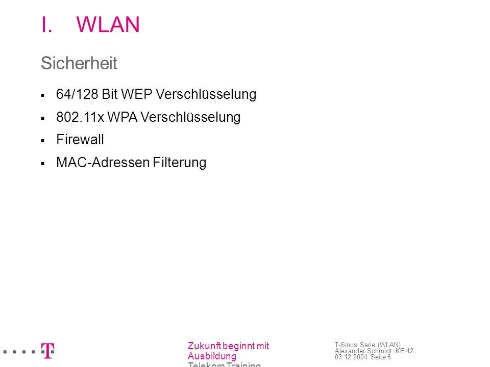 Zukunft beginnt mit Ausbildung Telekom Training T-Sinus Serie (WLAN) Alexander Schmidt, KE 42 03.12.2004 Seite 6 I.WLAN Sicherheit 64/128 Bit WEP Vers