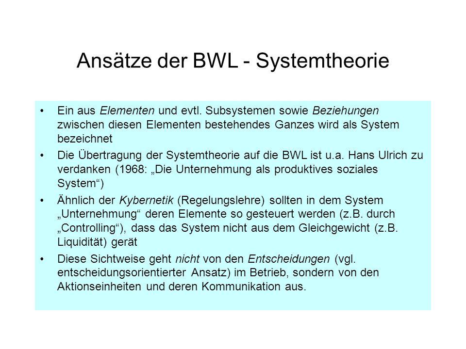 Ansätze der BWL - Systemtheorie Ein aus Elementen und evtl. Subsystemen sowie Beziehungen zwischen diesen Elementen bestehendes Ganzes wird als System