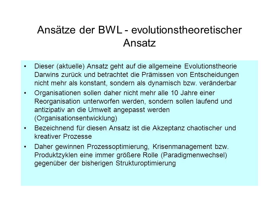 Ansätze der BWL - evolutionstheoretischer Ansatz Dieser (aktuelle) Ansatz geht auf die allgemeine Evolutionstheorie Darwins zurück und betrachtet die