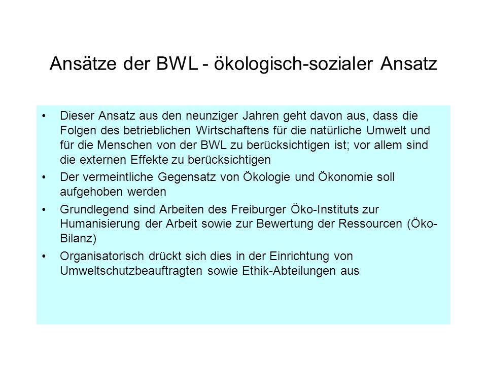 Ansätze der BWL - ökologisch-sozialer Ansatz Dieser Ansatz aus den neunziger Jahren geht davon aus, dass die Folgen des betrieblichen Wirtschaftens fü