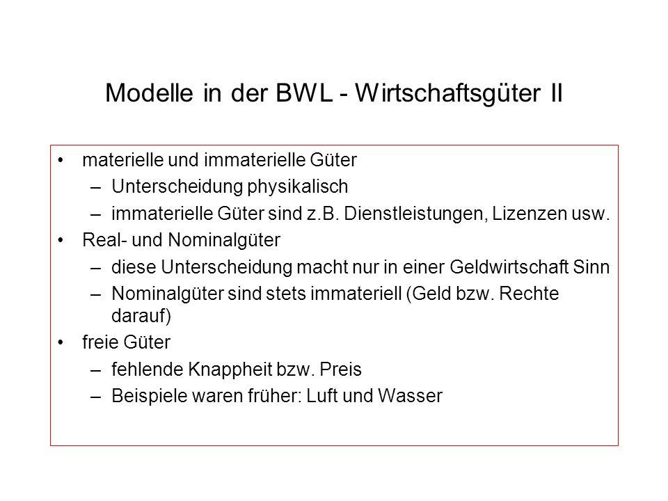 Modelle in der BWL - Wirtschaftsgüter II materielle und immaterielle Güter –Unterscheidung physikalisch –immaterielle Güter sind z.B. Dienstleistungen