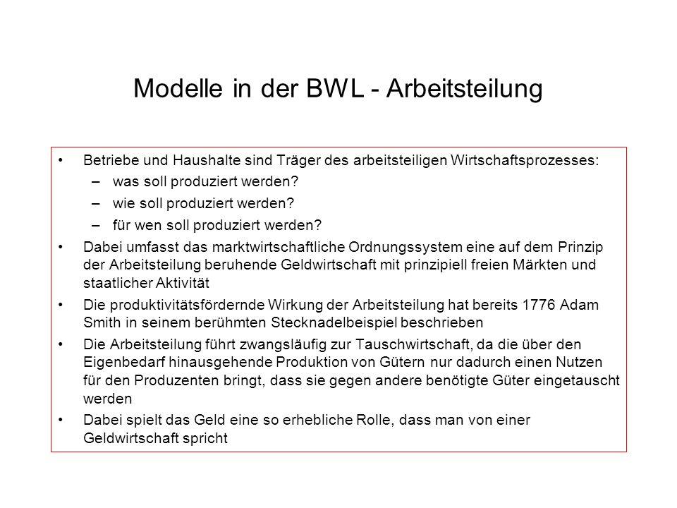 Modelle in der BWL - Arbeitsteilung Betriebe und Haushalte sind Träger des arbeitsteiligen Wirtschaftsprozesses: –was soll produziert werden? –wie sol