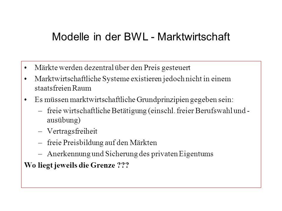 Modelle in der BWL - Marktwirtschaft Märkte werden dezentral über den Preis gesteuert Marktwirtschaftliche Systeme existieren jedoch nicht in einem st