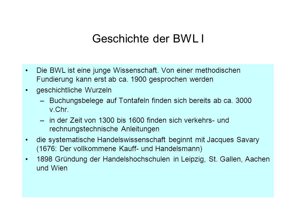 Geschichte der BWL I Die BWL ist eine junge Wissenschaft. Von einer methodischen Fundierung kann erst ab ca. 1900 gesprochen werden geschichtliche Wur
