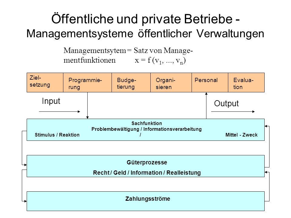 Öffentliche und private Betriebe - Managementsysteme öffentlicher Verwaltungen Managementsytem = Satz von Manage- mentfunktionen x = f (v 1,..., v n )