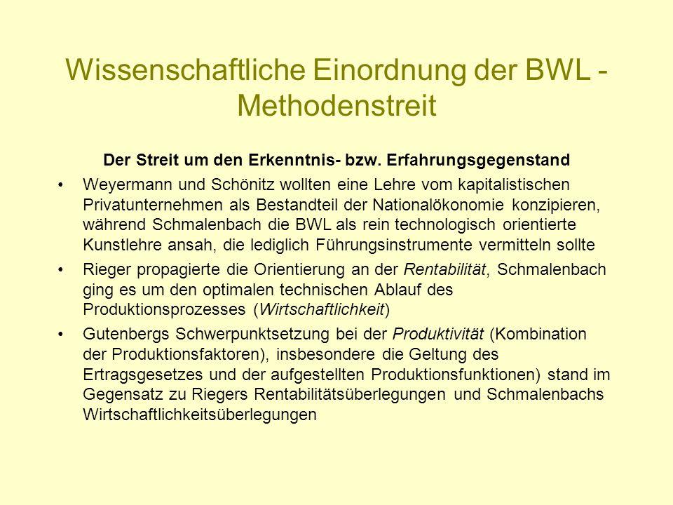 Wissenschaftliche Einordnung der BWL - Methodenstreit Der Streit um den Erkenntnis- bzw. Erfahrungsgegenstand Weyermann und Schönitz wollten eine Lehr