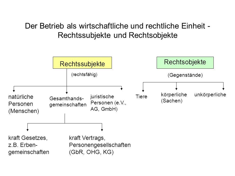 Der Betrieb als wirtschaftliche und rechtliche Einheit - Rechtssubjekte und Rechtsobjekte Rechtssubjekte Rechtsobjekte (rechtsfähig) (Gegenstände) Tie
