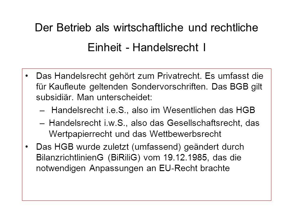 Der Betrieb als wirtschaftliche und rechtliche Einheit - Handelsrecht II HGB 1.
