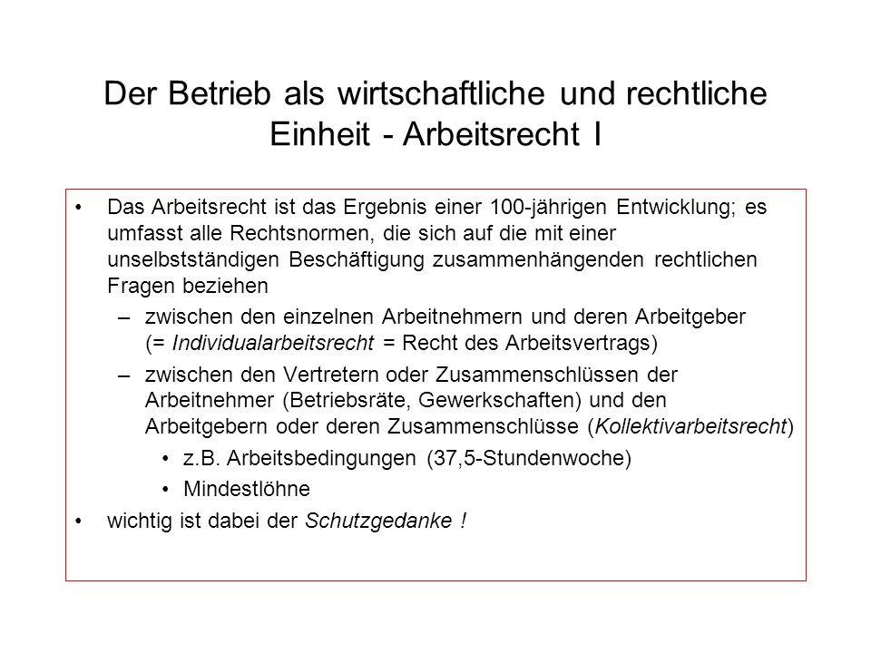 Der Betrieb als wirtschaftliche und rechtliche Einheit - Arbeitsrecht I Das Arbeitsrecht ist das Ergebnis einer 100-jährigen Entwicklung; es umfasst a