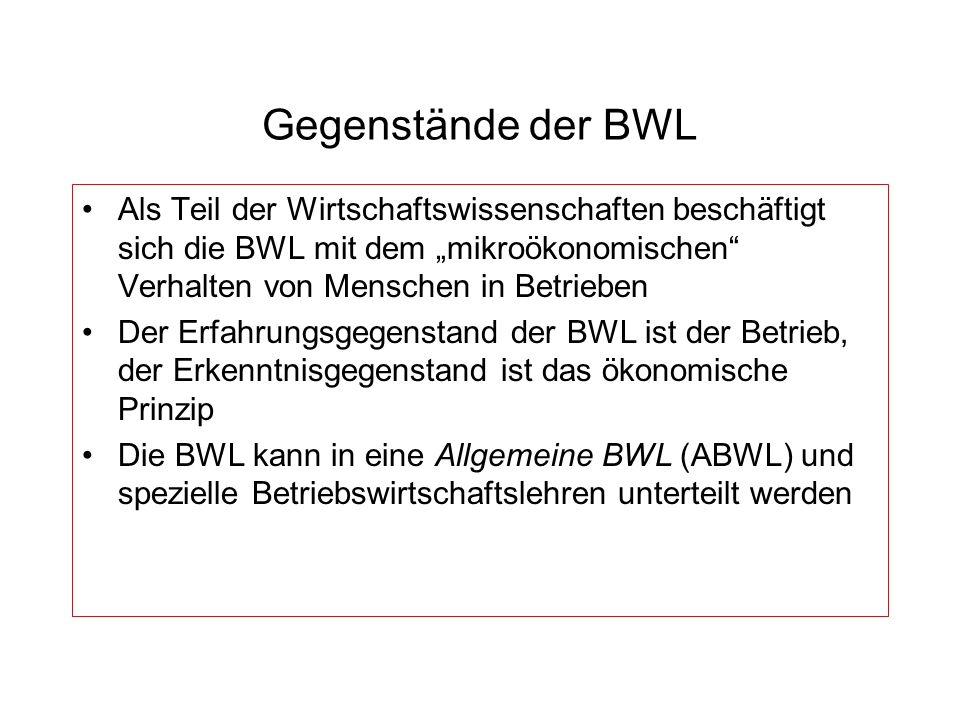 Gegenstände der BWL Als Teil der Wirtschaftswissenschaften beschäftigt sich die BWL mit dem mikroökonomischen Verhalten von Menschen in Betrieben Der