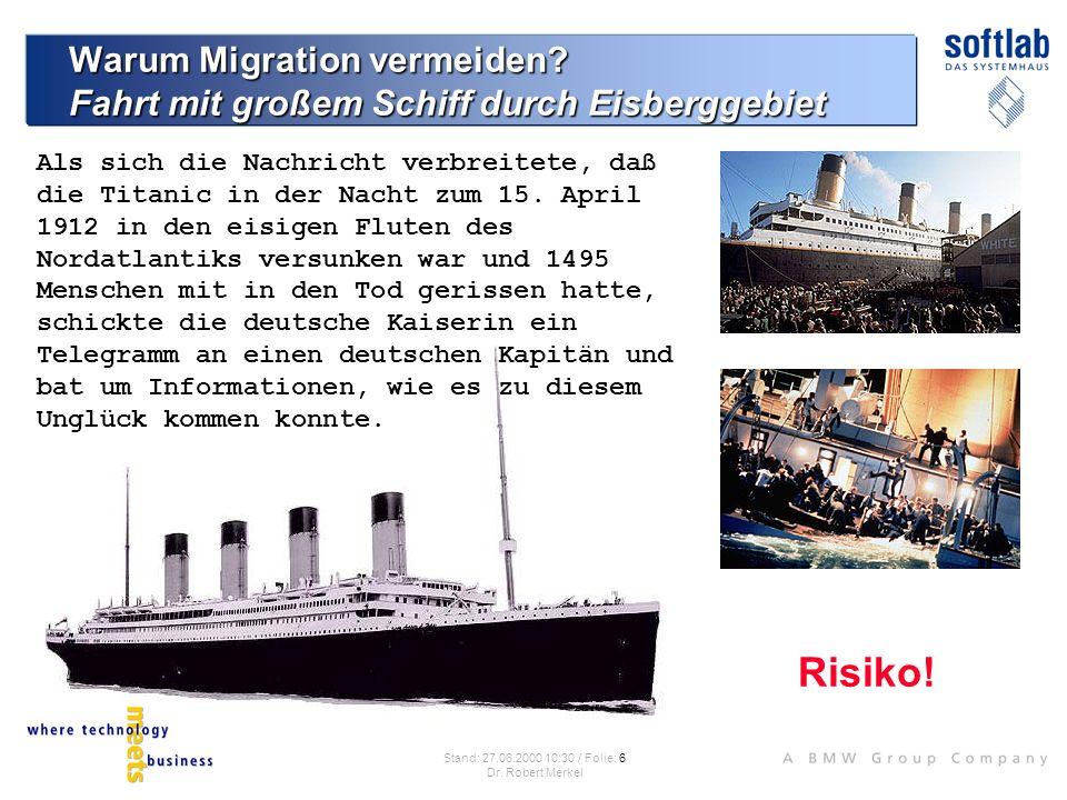 Risiken bei Migrationsvorhaben Qualität der Eisberge Photo: Captain of the S.S.