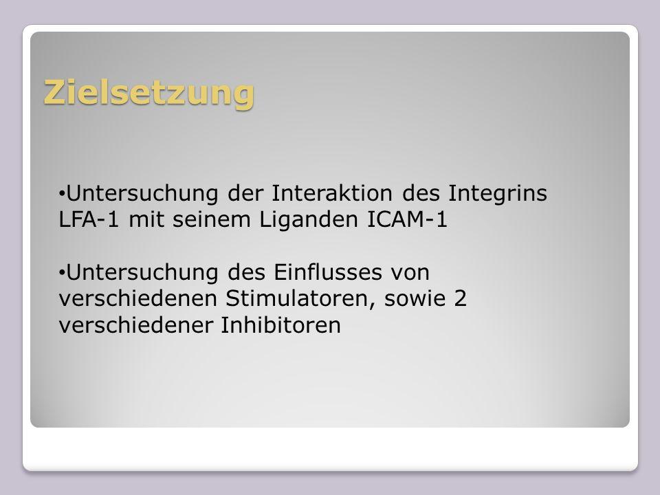 Zielsetzung Untersuchung der Interaktion des Integrins LFA-1 mit seinem Liganden ICAM-1 Untersuchung des Einflusses von verschiedenen Stimulatoren, so