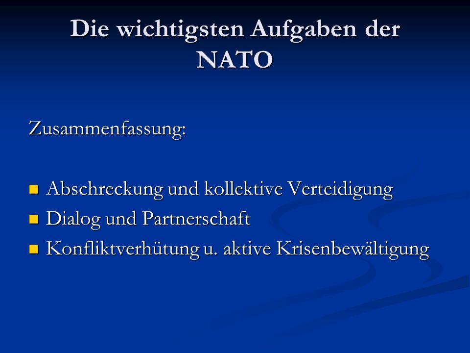 Die wichtigsten Aufgaben der NATO Zusammenfassung: Abschreckung und kollektive Verteidigung Abschreckung und kollektive Verteidigung Dialog und Partnerschaft Dialog und Partnerschaft Konfliktverhütung u.