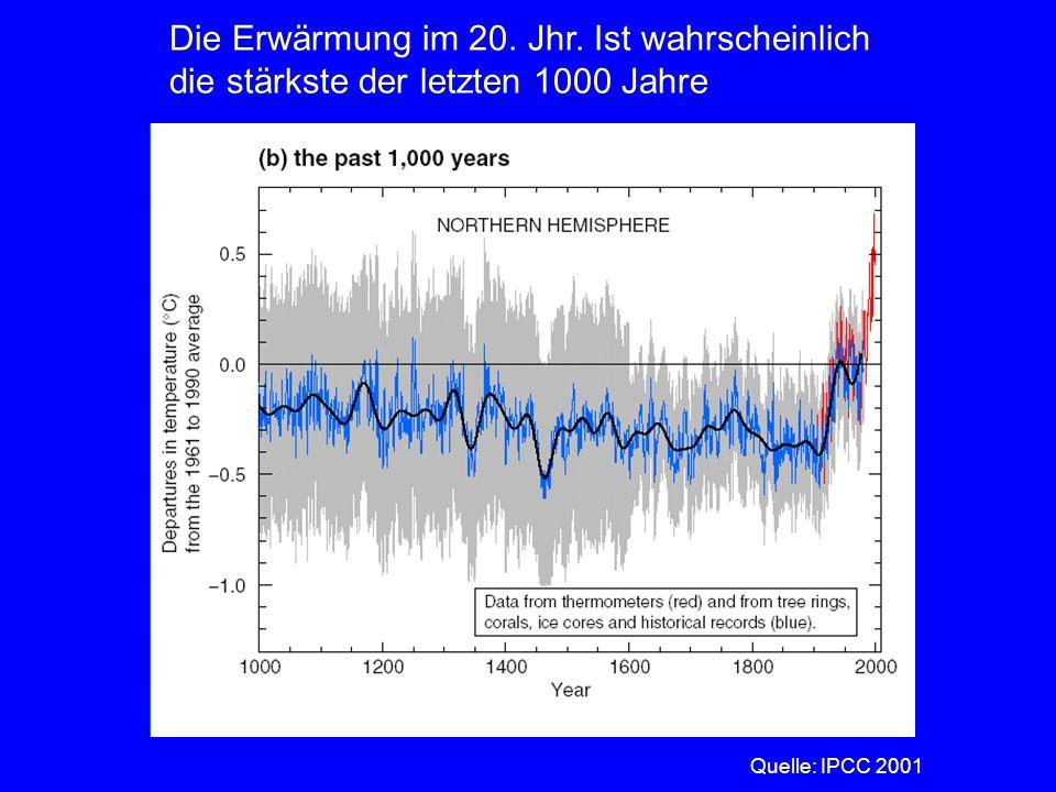 Die Erwärmung im 20. Jhr. Ist wahrscheinlich die stärkste der letzten 1000 Jahre Quelle: IPCC 2001