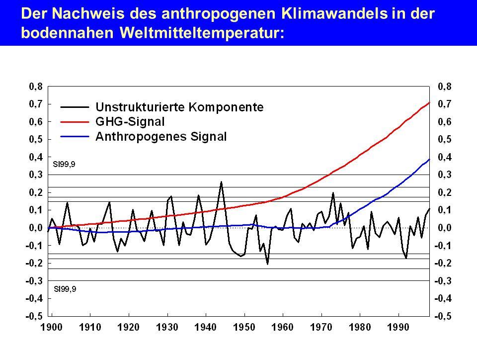 Der Nachweis des anthropogenen Klimawandels in der bodennahen Weltmitteltemperatur: