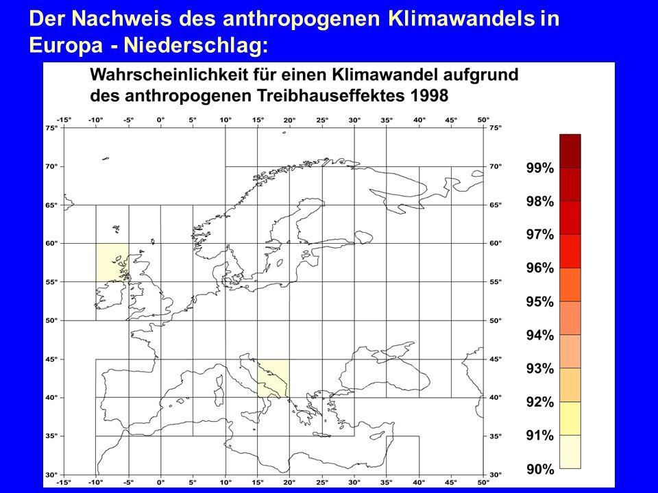 Der Nachweis des anthropogenen Klimawandels in Europa - Niederschlag: