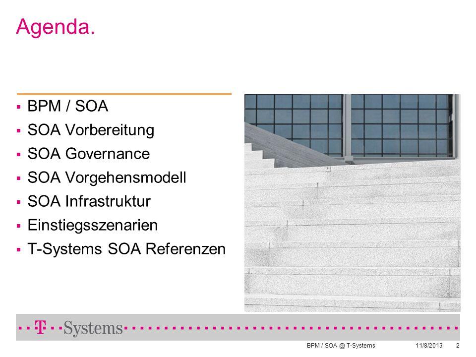 BPM / SOA @ T-Systems 11/8/20132 Agenda. BPM / SOA SOA Vorbereitung SOA Governance SOA Vorgehensmodell SOA Infrastruktur Einstiegsszenarien T-Systems