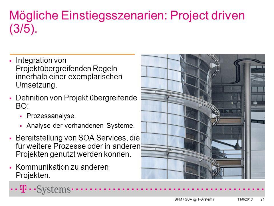 BPM / SOA @ T-Systems 11/8/201321 Integration von Projektübergreifenden Regeln innerhalb einer exemplarischen Umsetzung. Definition von Projekt übergr