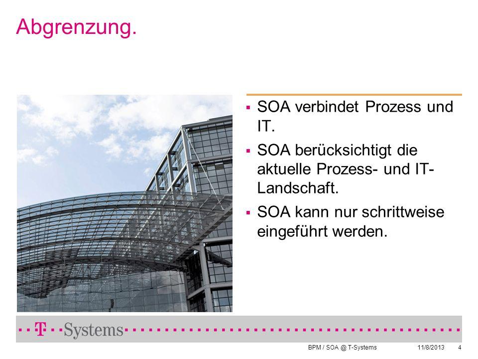 BPM / SOA @ T-Systems 11/8/20134 Abgrenzung. SOA verbindet Prozess und IT. SOA berücksichtigt die aktuelle Prozess- und IT- Landschaft. SOA kann nur s