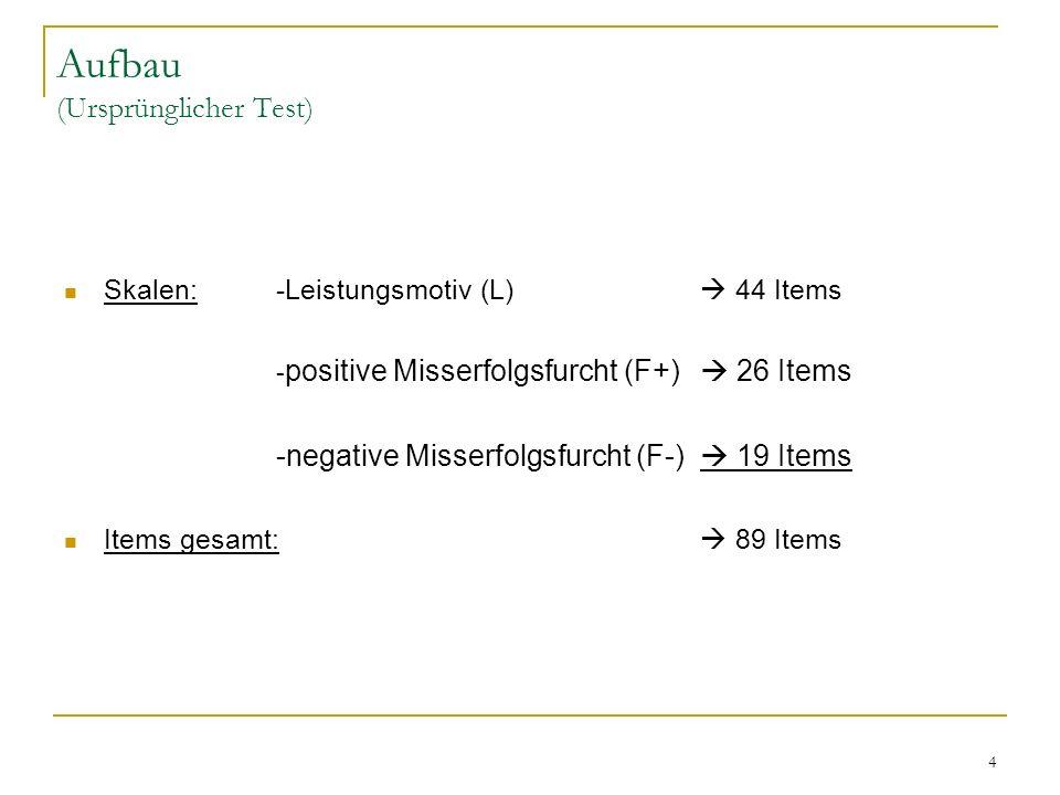 4 Aufbau (Ursprünglicher Test) Skalen:-Leistungsmotiv (L) 44 Items - positive Misserfolgsfurcht (F+) 26 Items -negative Misserfolgsfurcht (F-) 19 Item