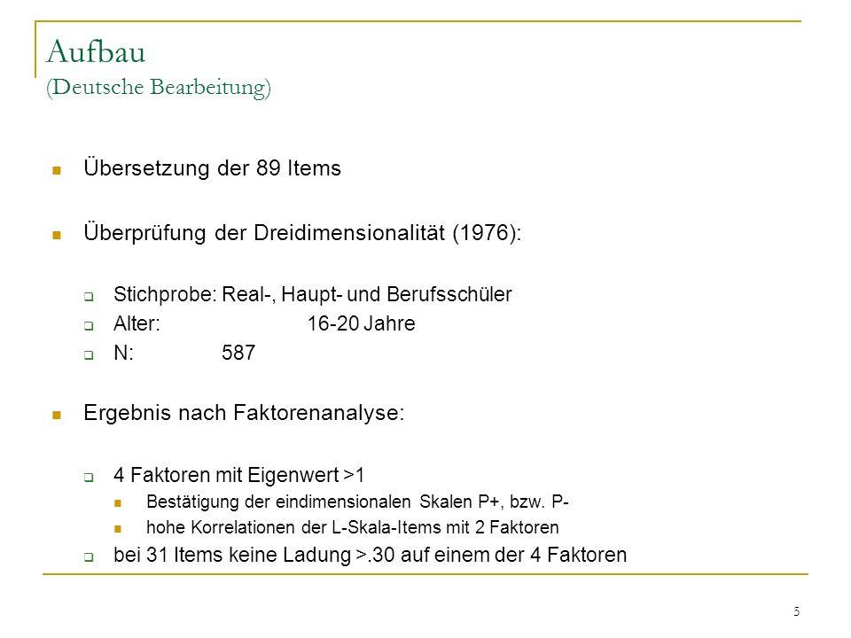 5 Aufbau (Deutsche Bearbeitung) Übersetzung der 89 Items Überprüfung der Dreidimensionalität (1976): Stichprobe:Real-, Haupt- und Berufsschüler Alter:
