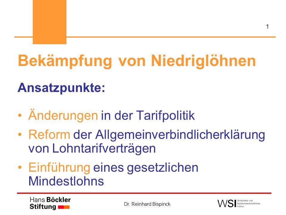 Dr. Reinhard Bispinck 1 Bekämpfung von Niedriglöhnen Ansatzpunkte: Änderungen in der Tarifpolitik Reform der Allgemeinverbindlicherklärung von Lohntar