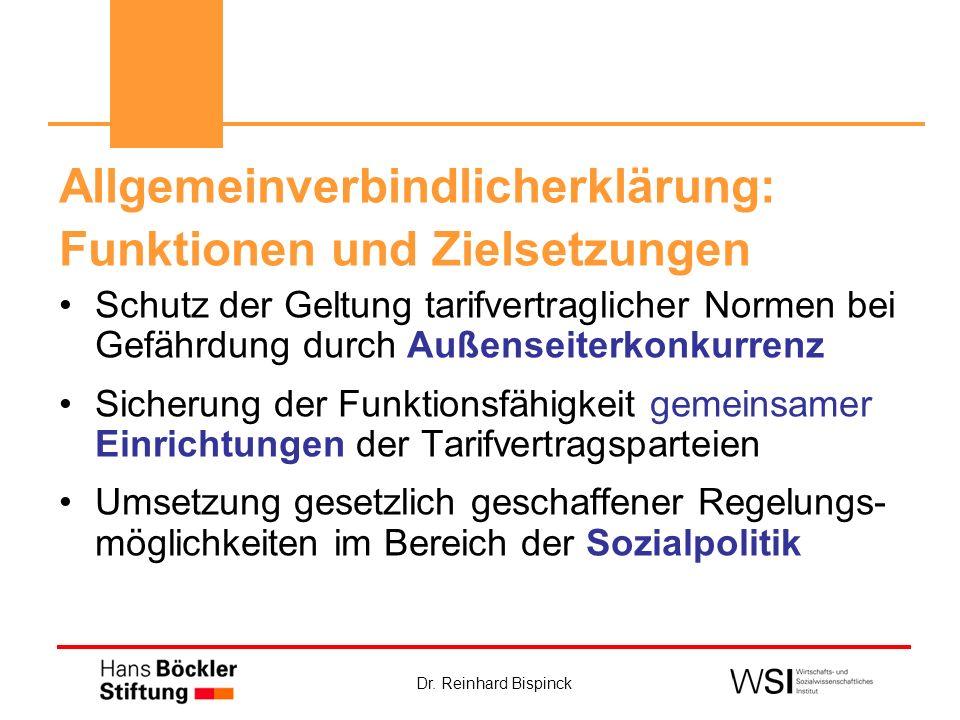 Dr. Reinhard Bispinck Allgemeinverbindlicherklärung: Funktionen und Zielsetzungen Schutz der Geltung tarifvertraglicher Normen bei Gefährdung durch Au