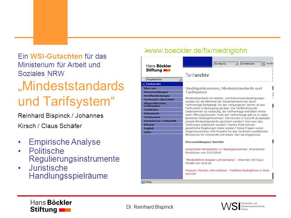 Dr. Reinhard Bispinck Ein WSI-Gutachten für das Ministerium für Arbeit und Soziales NRW Mindeststandards und Tarifsystem Reinhard Bispinck / Johannes