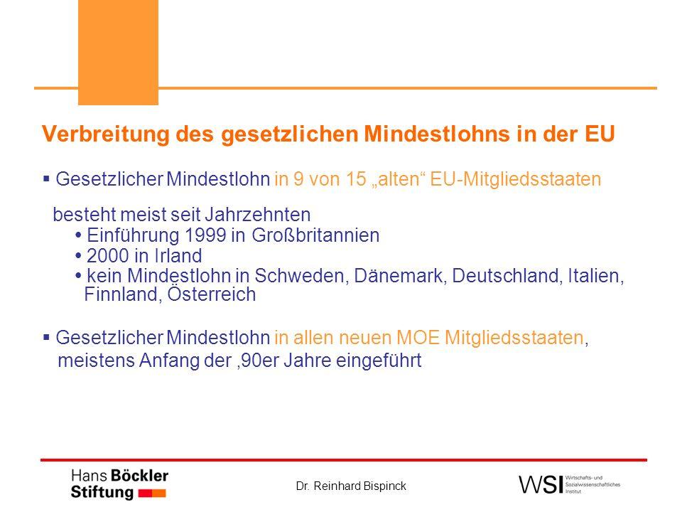 Dr. Reinhard Bispinck Verbreitung des gesetzlichen Mindestlohns in der EU Gesetzlicher Mindestlohn in 9 von 15 alten EU-Mitgliedsstaaten besteht meist