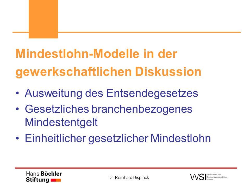 Mindestlohn-Modelle in der gewerkschaftlichen Diskussion Ausweitung des Entsendegesetzes Gesetzliches branchenbezogenes Mindestentgelt Einheitlicher g