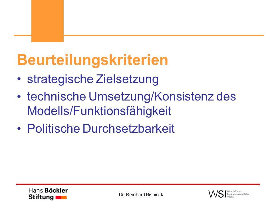Dr. Reinhard Bispinck Beurteilungskriterien strategische Zielsetzung technische Umsetzung/Konsistenz des Modells/Funktionsfähigkeit Politische Durchse