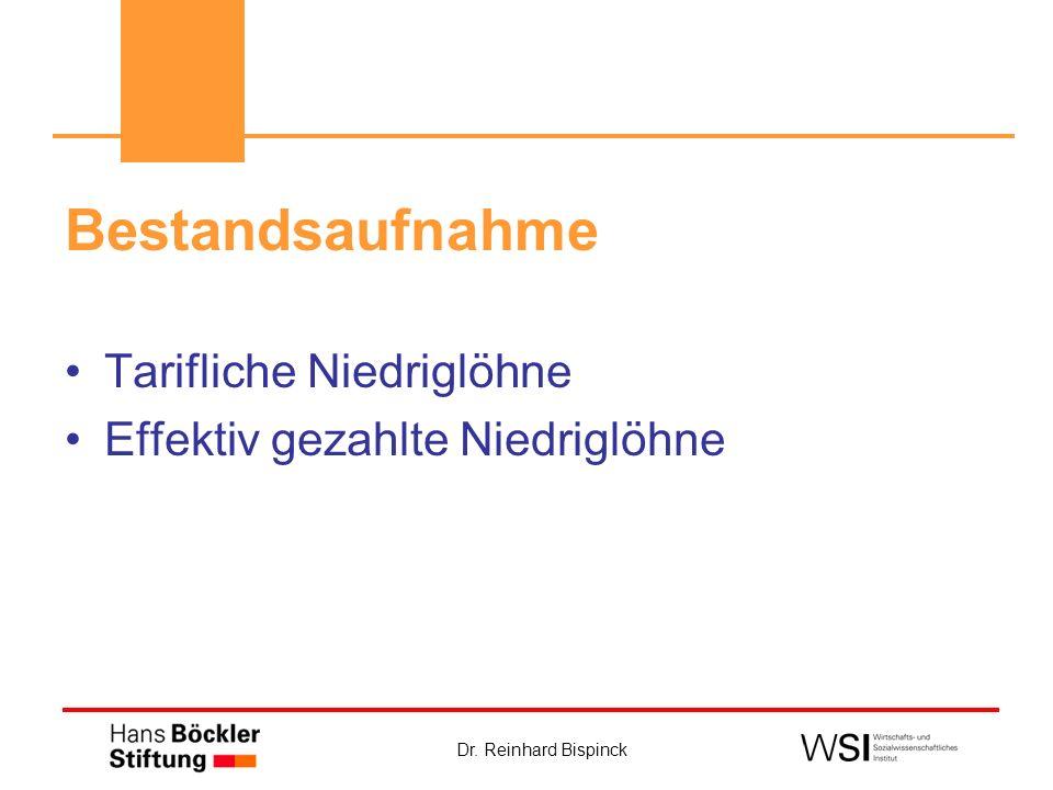 Dr. Reinhard Bispinck Bestandsaufnahme Tarifliche Niedriglöhne Effektiv gezahlte Niedriglöhne