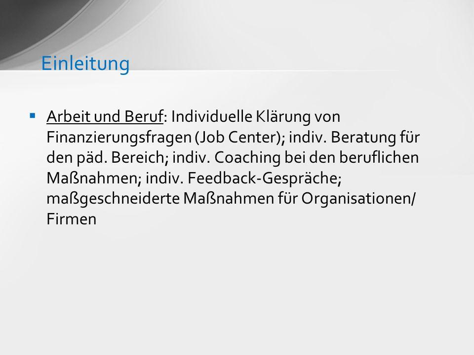 Arbeit und Beruf: Individuelle Klärung von Finanzierungsfragen (Job Center); indiv. Beratung für den päd. Bereich; indiv. Coaching bei den beruflichen