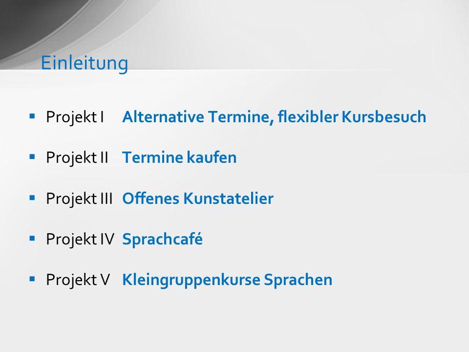 Projekt IAlternative Termine, flexibler Kursbesuch Projekt IITermine kaufen Projekt IIIOffenes Kunstatelier Projekt IVSprachcafé Projekt VKleingruppen