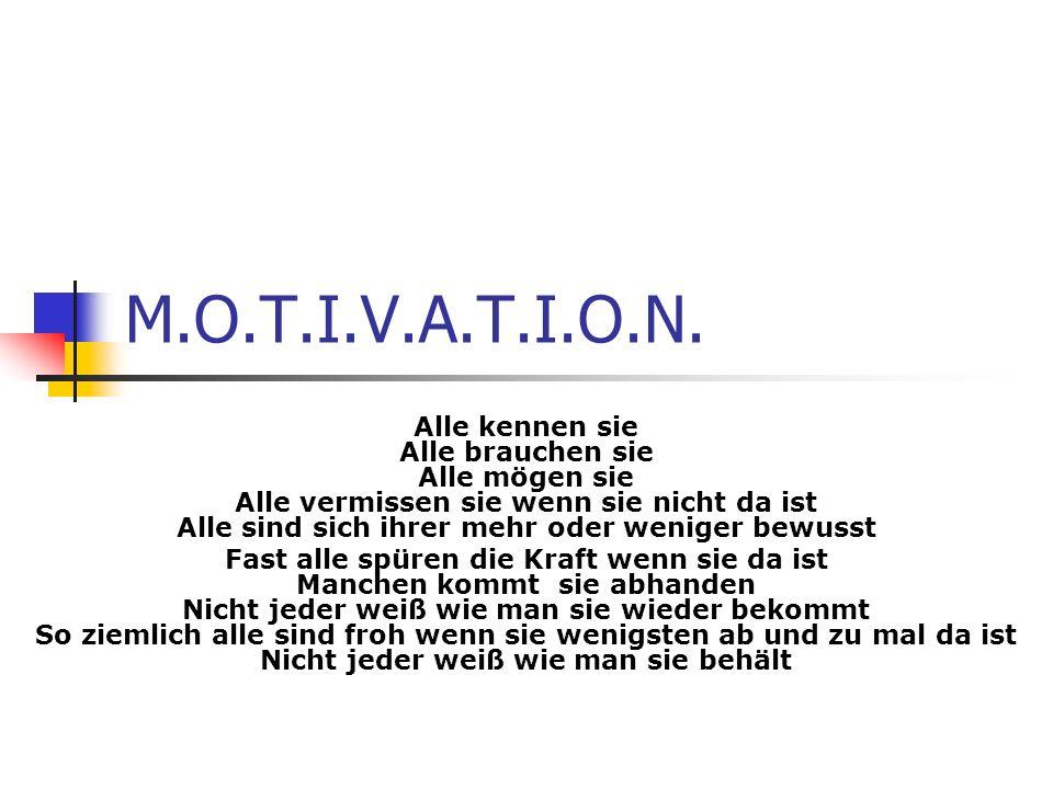 Motivation Aus dem Lateinischen hergeleitet Motus = Bewegung Ein Synonym von Motivation ist Verhaltensbereitschaft