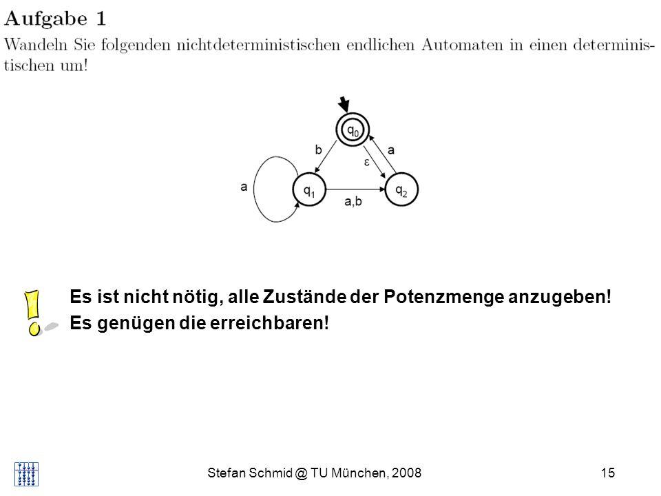 Stefan Schmid @ TU München, 200815 Appetizer... Es ist nicht nötig, alle Zustände der Potenzmenge anzugeben! Es genügen die erreichbaren!