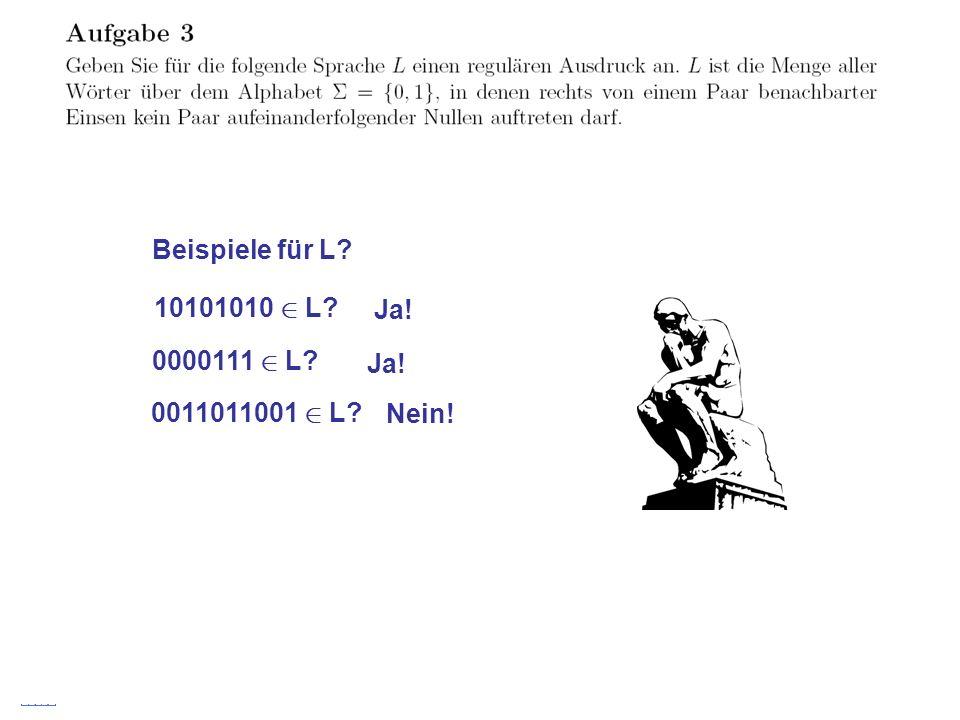 Stefan Schmid @ TU München, 200823 Beispiele für L? 10101010 2 L? Ja! 0000111 2 L? Ja! 0011011001 2 L? Nein!