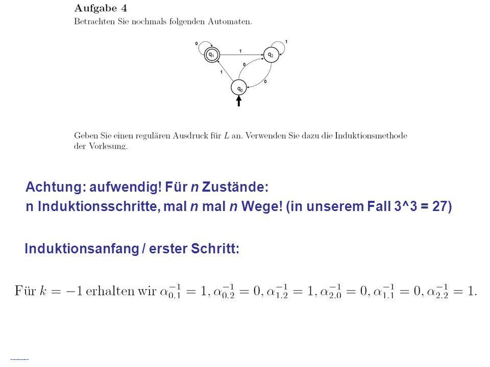 Stefan Schmid @ TU München, 200826 Achtung: aufwendig! Für n Zustände: n Induktionsschritte, mal n mal n Wege! (in unserem Fall 3^3 = 27) Induktionsan