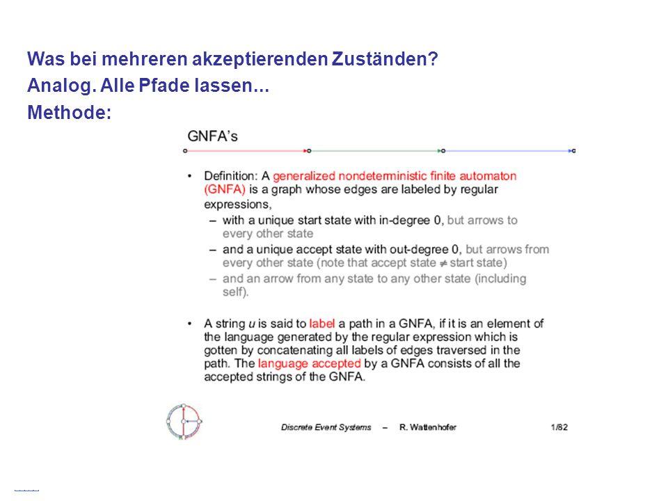 Stefan Schmid @ TU München, 200830 Was bei mehreren akzeptierenden Zuständen? Analog. Alle Pfade lassen... Methode: