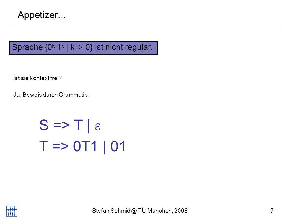 Stefan Schmid @ TU München, 20087 Sprache {0 k 1 k | k ¸ 0} ist nicht regulär. Appetizer... Ist sie kontext frei? Ja, Beweis durch Grammatik: S => T |