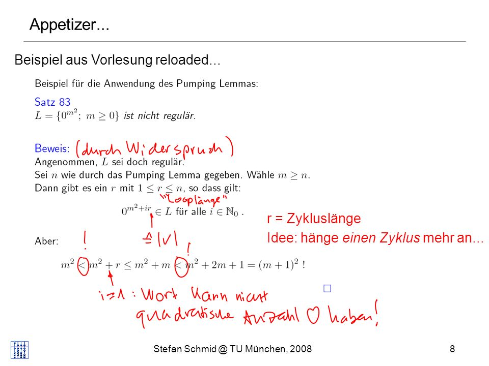 Stefan Schmid @ TU München, 20088 Appetizer... Beispiel aus Vorlesung reloaded... r = Zykluslänge Idee: hänge einen Zyklus mehr an...