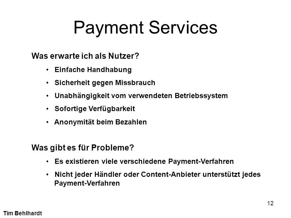 12 Payment Services Was erwarte ich als Nutzer? Einfache Handhabung Sicherheit gegen Missbrauch Unabhängigkeit vom verwendeten Betriebssystem Sofortig