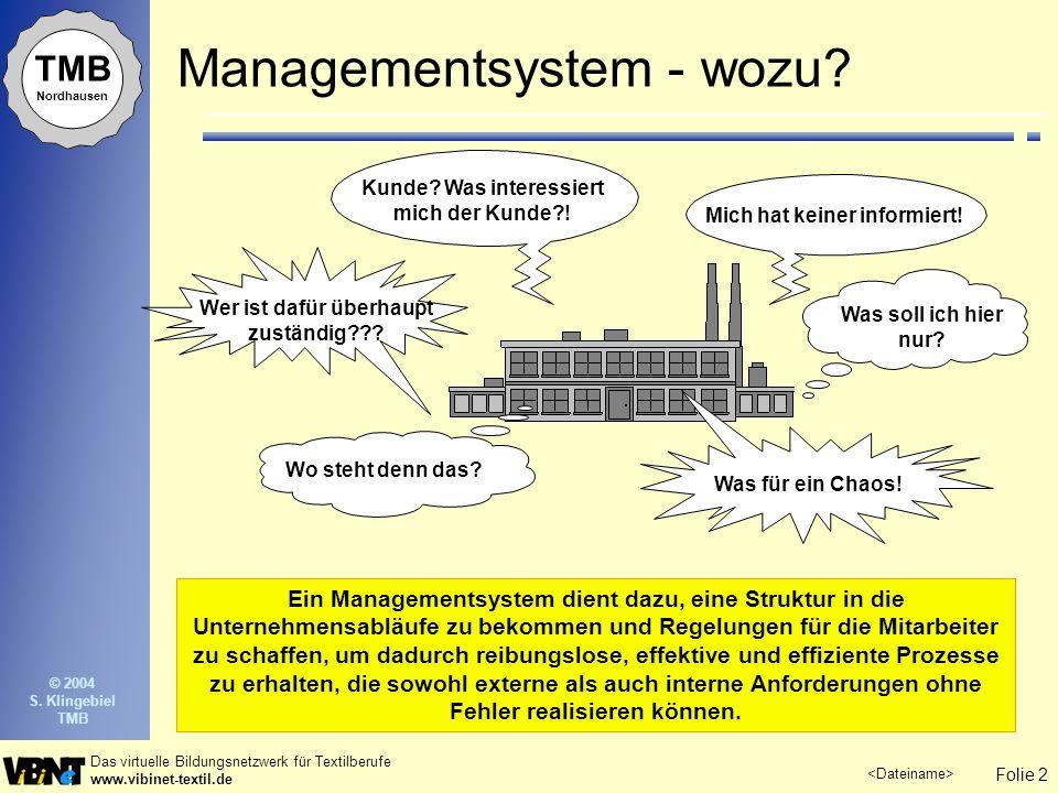 Folie 2 Das virtuelle Bildungsnetzwerk für Textilberufe www.vibinet-textil.de © 2004 S. Klingebiel TMB TMB Nordhausen Managementsystem - wozu? Ein Man