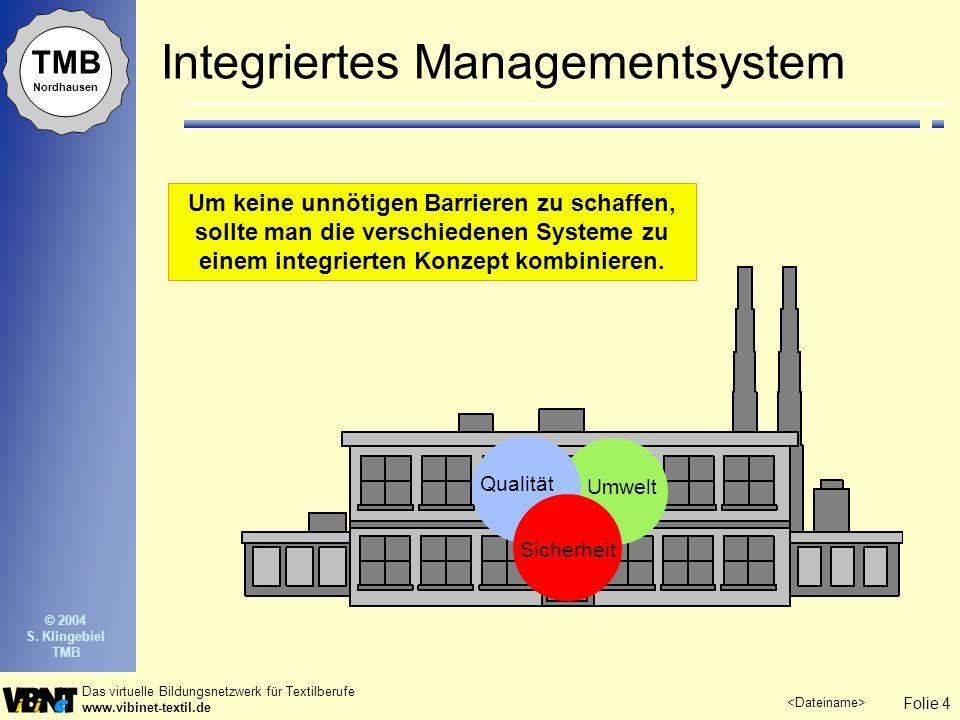 Folie 4 Das virtuelle Bildungsnetzwerk für Textilberufe www.vibinet-textil.de © 2004 S. Klingebiel TMB TMB Nordhausen Integriertes Managementsystem Um