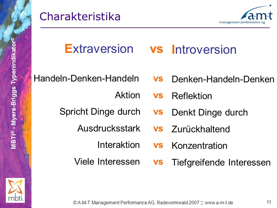 MBTI ® - Myers-Briggs Typenindikator ® © A-M-T Management Performance AG, Radevormwald 2007 www.a-m-t.de 11 Extraversion vs Handeln-Denken-Handeln vs