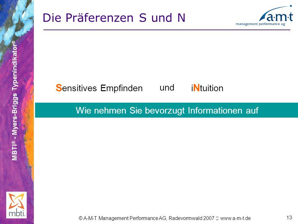 MBTI ® - Myers-Briggs Typenindikator ® © A-M-T Management Performance AG, Radevormwald 2007 www.a-m-t.de 13 Die Präferenzen S und N E xtraversion X un