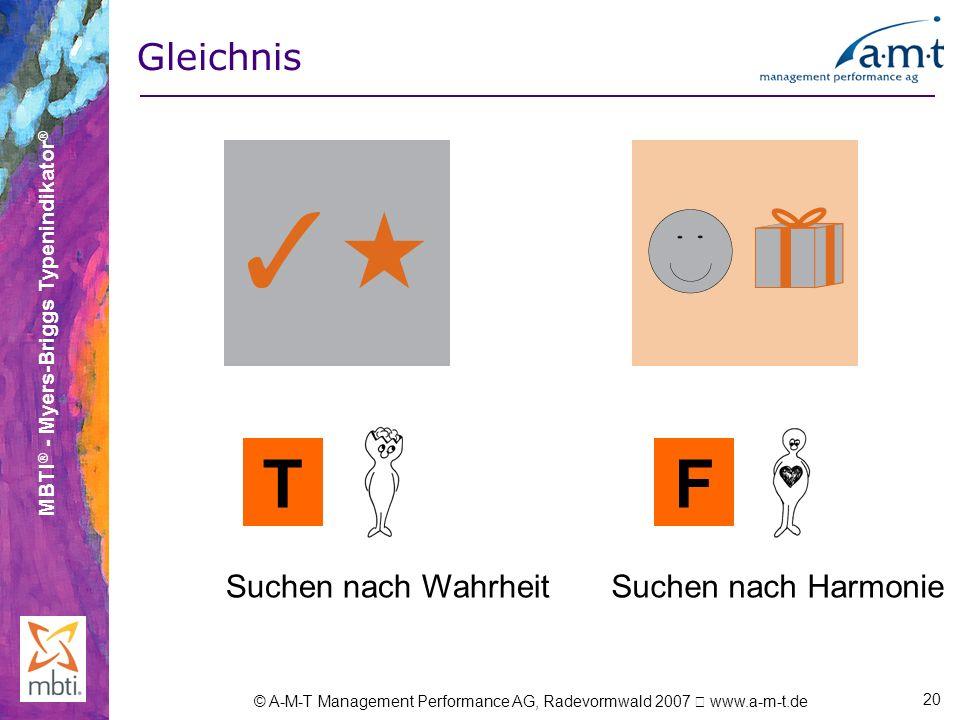MBTI ® - Myers-Briggs Typenindikator ® © A-M-T Management Performance AG, Radevormwald 2007 www.a-m-t.de 20 Gleichnis TF Suchen nach WahrheitSuchen na
