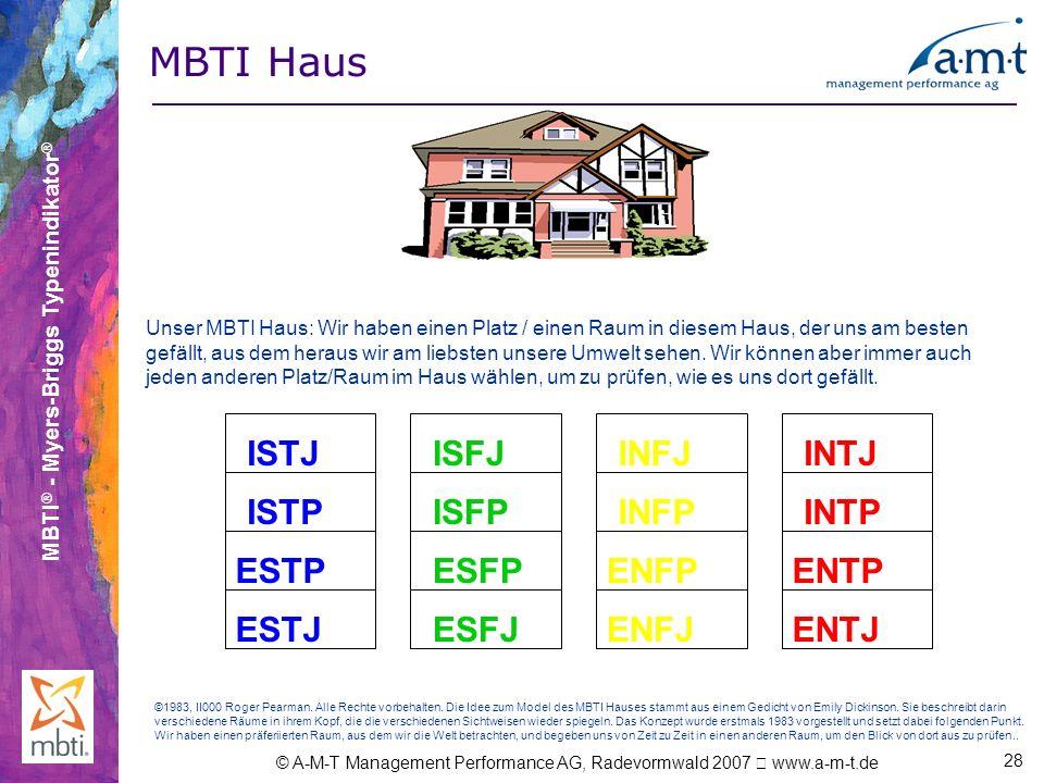MBTI ® - Myers-Briggs Typenindikator ® © A-M-T Management Performance AG, Radevormwald 2007 www.a-m-t.de 28 Unser MBTI Haus: Wir haben einen Platz / e