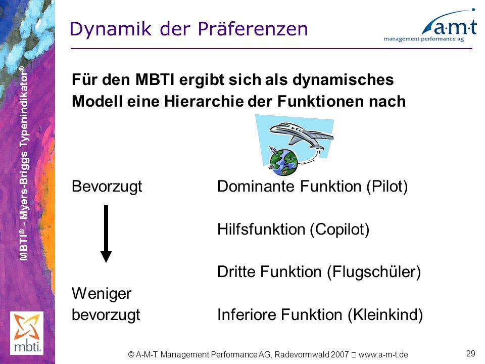 MBTI ® - Myers-Briggs Typenindikator ® © A-M-T Management Performance AG, Radevormwald 2007 www.a-m-t.de 29 Dynamik der Präferenzen Für den MBTI ergib