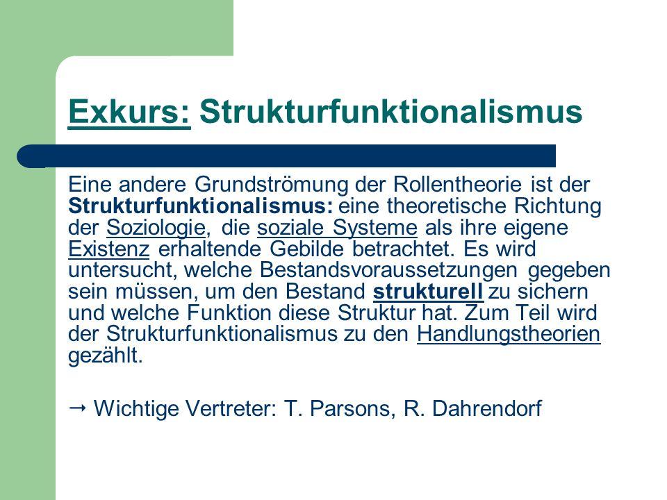 Exkurs: Strukturfunktionalismus Eine andere Grundströmung der Rollentheorie ist der Strukturfunktionalismus: eine theoretische Richtung der Soziologie